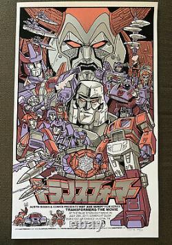 Transformers The Movie poster G1 Art Optimus Prime Megatron Tim Doyle mondo